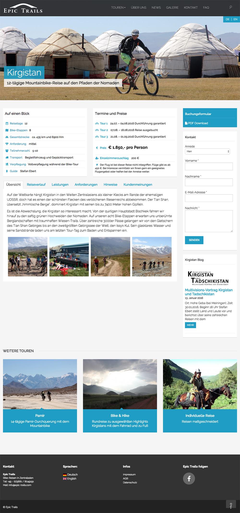 Wordpress-Website für den Radtour-Veranstalter Epic Trails