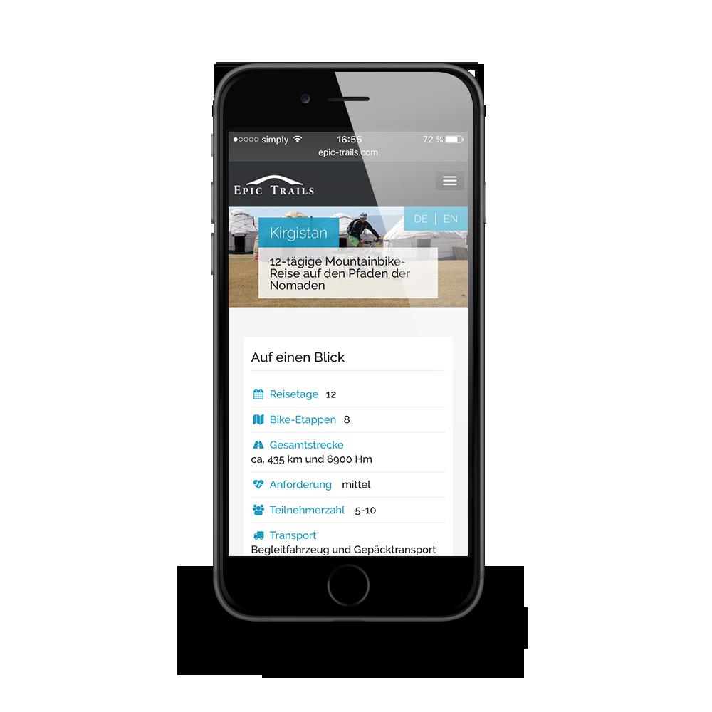 Mobiles Webdesign für den Radtour-Veranstalter Epic Trails