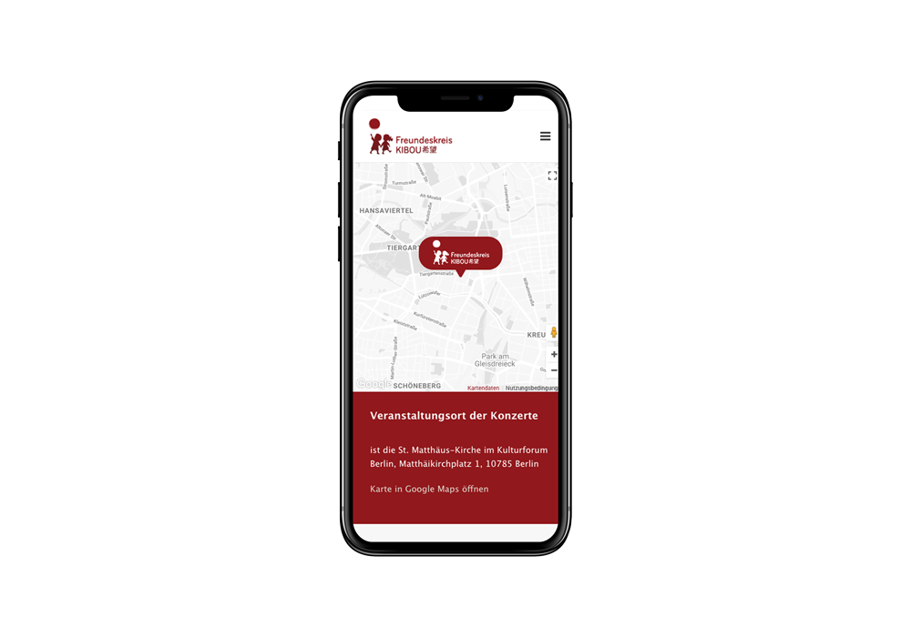 Mobiles Webdesign für den Freundeskreis Kibou