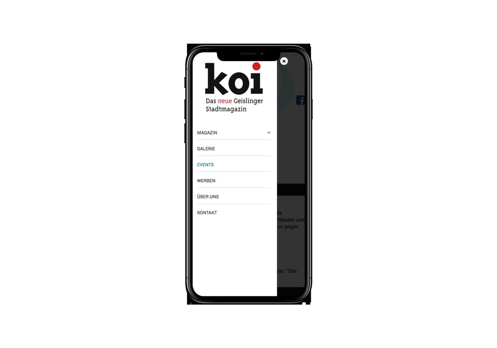 mobiles Webdesign für Geislinger Stadtmagazin koi