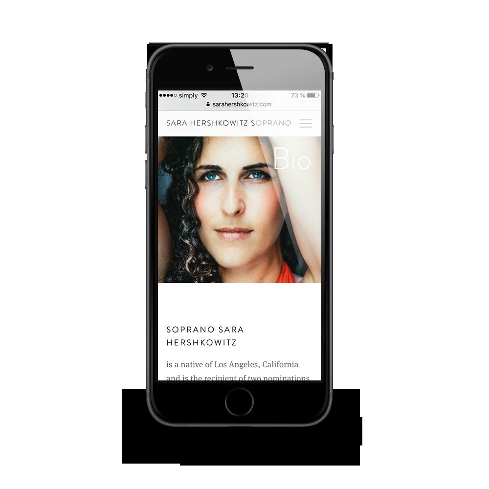Mobiles Webdesign für für Soprano Sara Hershkowitz