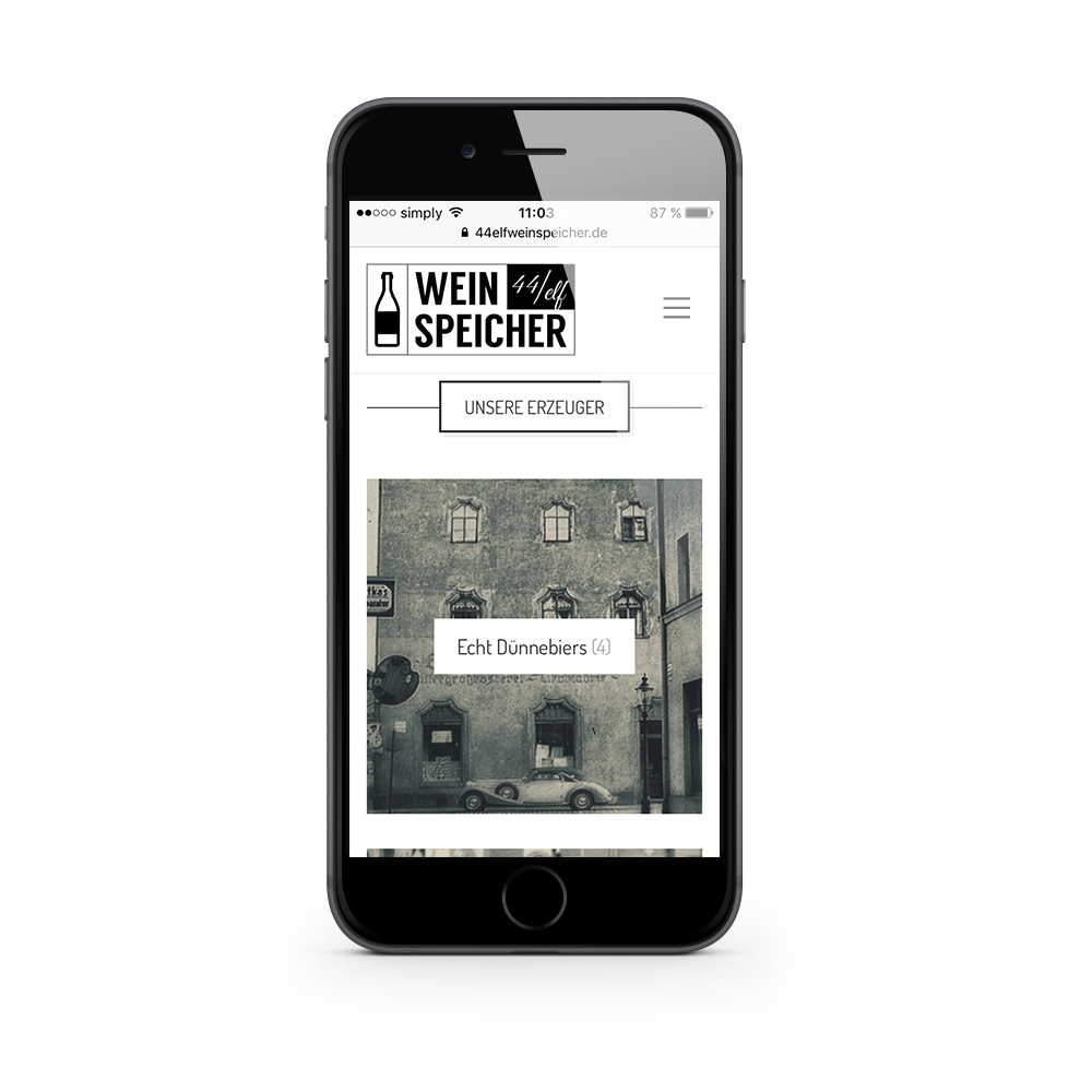Mobiles Webdesign für 44elf Weinspeicher