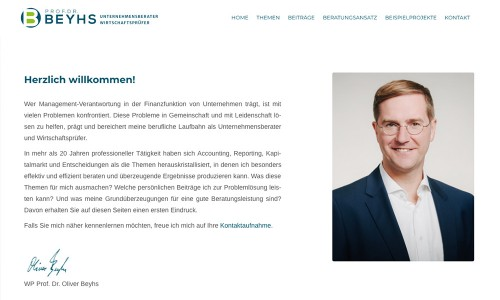 Wordpress-Webdesign und Fotografie für den Unternehmensberater und Wirtschaftsprüfer Prof. Dr. Beyhs